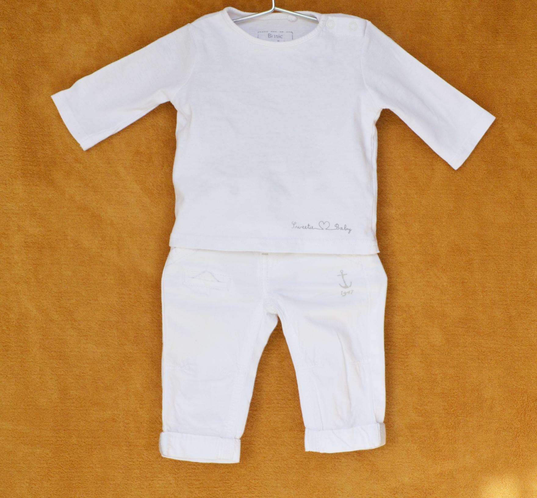 Ensemble Pantalon Jean et Tee-shirt Blanc - Baby GEMO - 3M