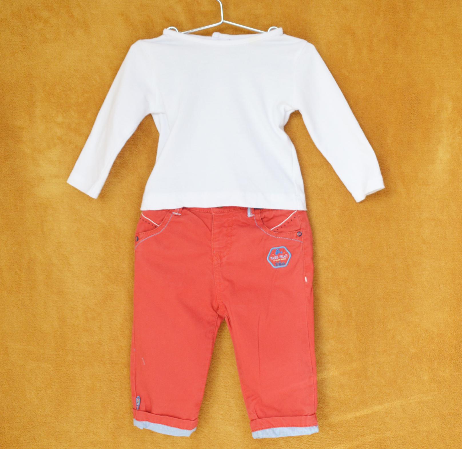 Ensemble Pantalon Rouge - Tee-shirt Blanc - Sergent Major - 6M