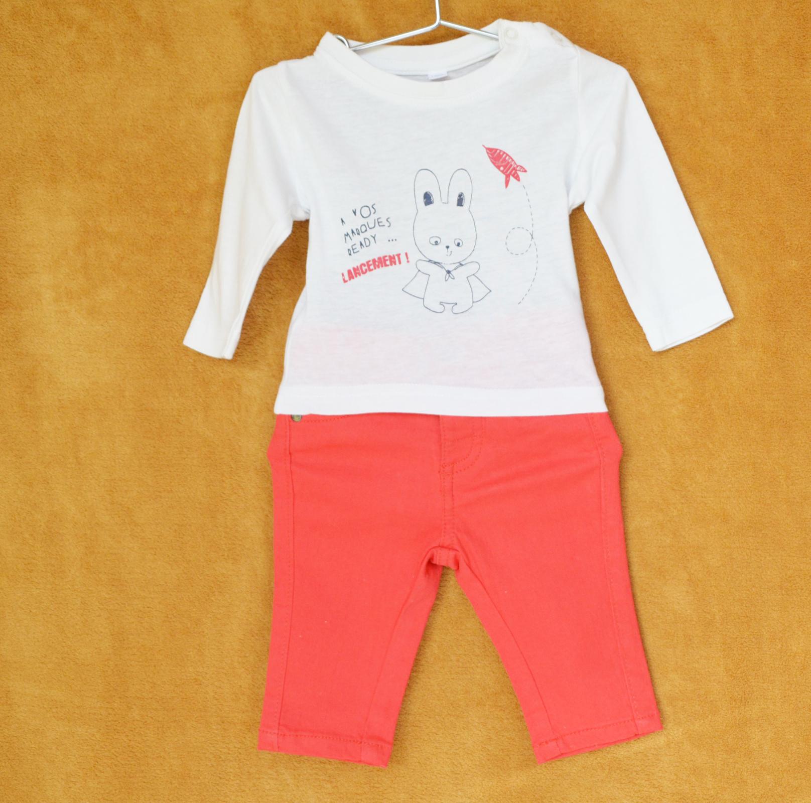 Ensemble Pantalon Rouge Verbaudet - Tee-shirt Blanc Motif - 3 M
